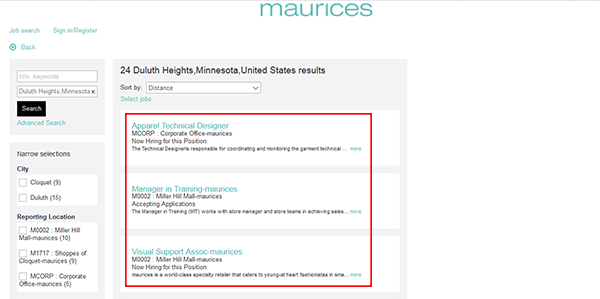 maurices clothing store job application