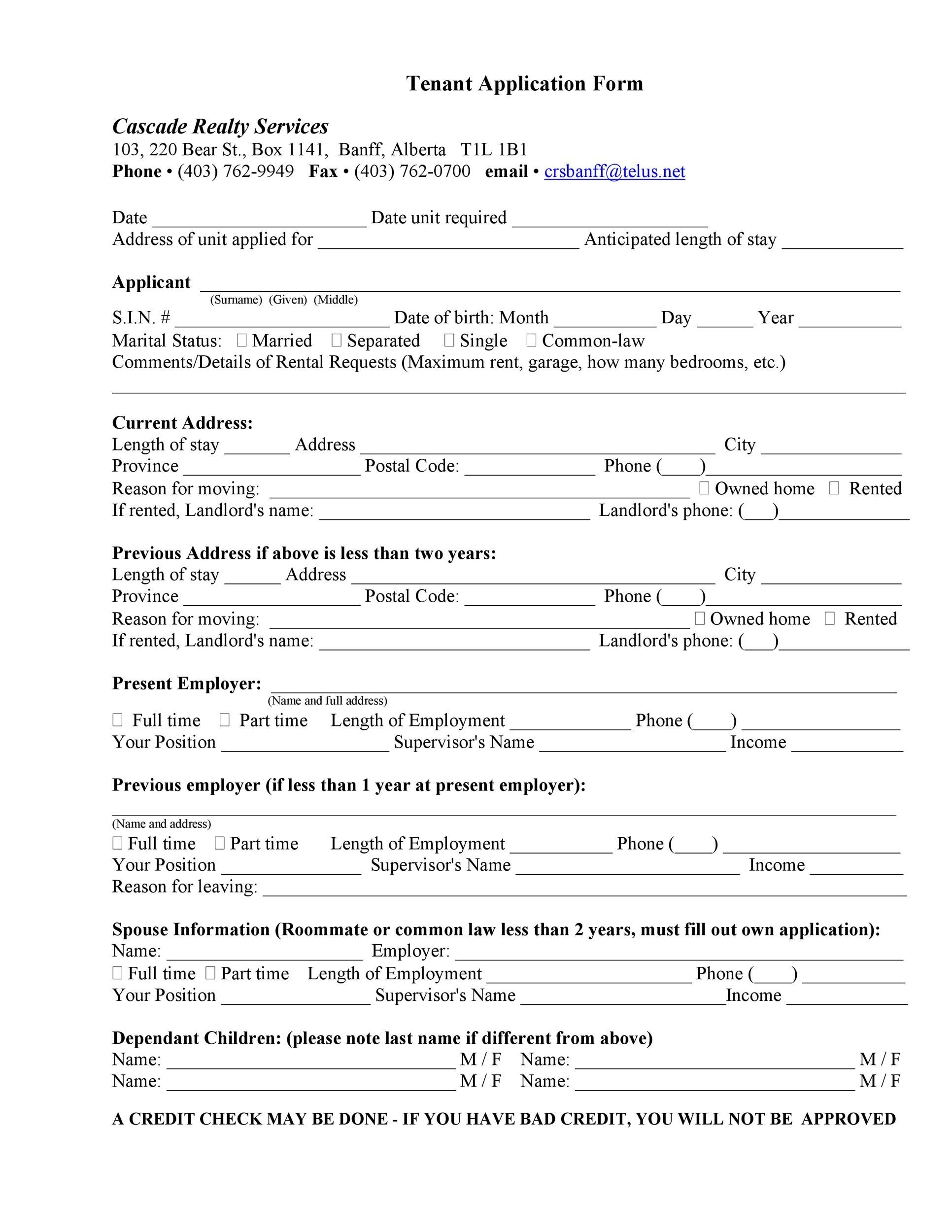 tenant application form not agreement